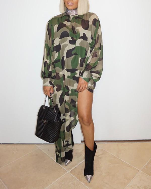 Plus Size Loose Camouflage Print Long Sleeve Irregular Long Skirt