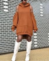 Loose Strapless Sleeves Zipper Hooded Sweater Dress