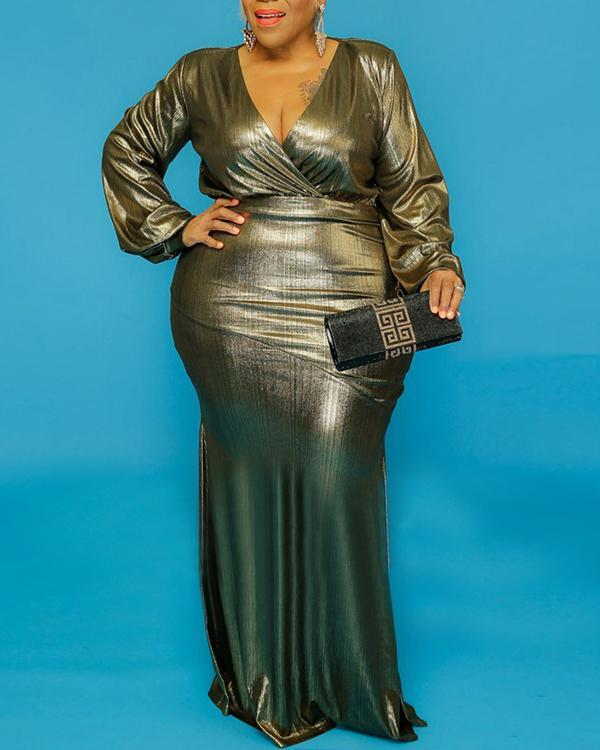 Loose Plus Size Long-sleeved Maxi Dress