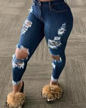High Waist Denim Hole Distressed Pants Jeans