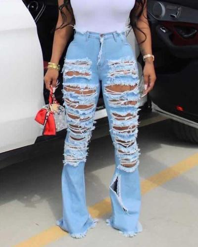 Ripped Flared Jeans