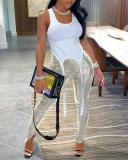 Slit Bright Leather Pants
