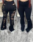 Plus Size Denim Hole Distressed Flared Jeans