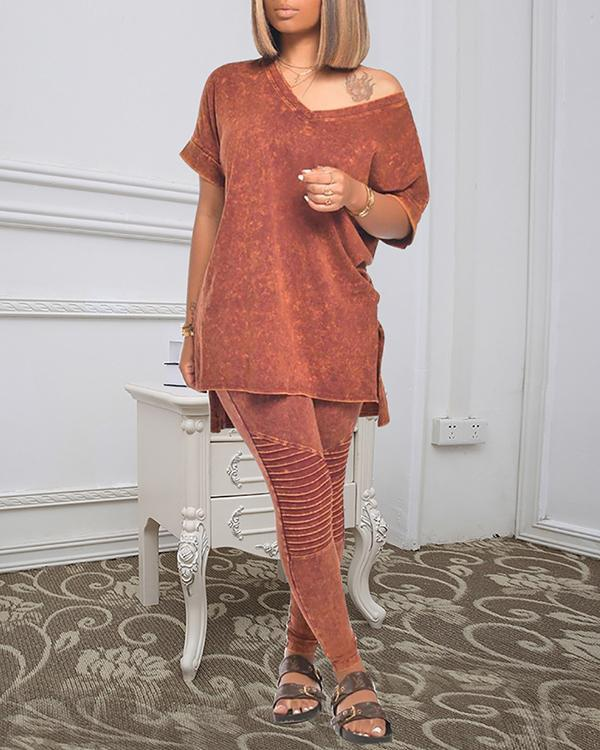V-neck Short Sleeve Slit Embossed Stitching Two-piece Suit