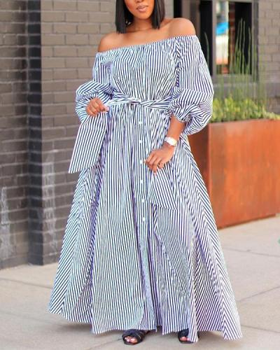 Sexy Off-shoulder Striped Print Maxi Dress