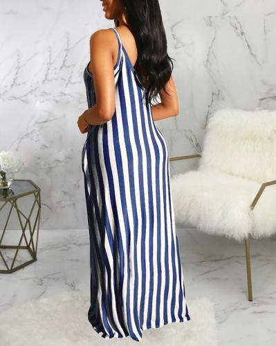 Casual Loose Sleeveless V-neck Maxi Dress