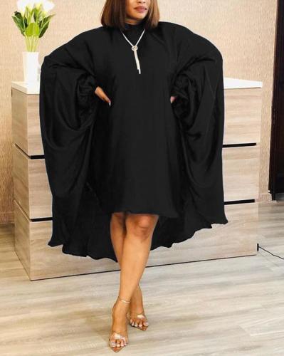Solid Color Bat Sleeve Round Neck Loose Dress