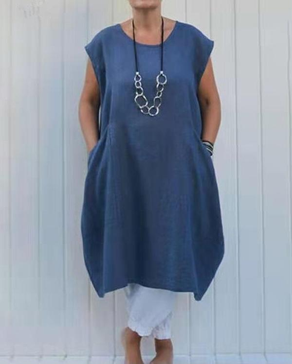 Plus Size Loose Solid Color Pocket Cotton Linen Dress