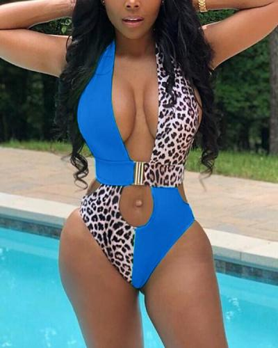 Sexy Backless Leopard Stitching One-piece Swimsuit