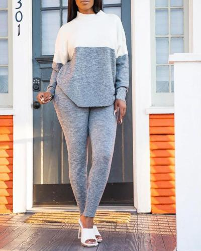 Casual Color Contrast Stitching Sports Two-piece Suit