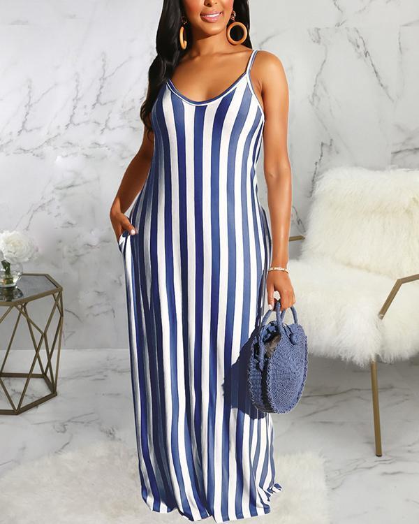 Casual Loose Sleeveless V-neck Maxi Dress