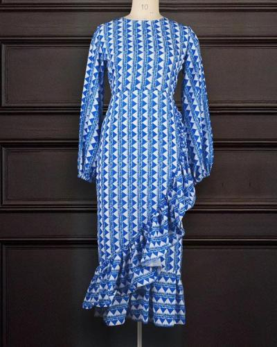Lantern Sleeve High Waist Irregular Ruffled Large Size Casual Dress