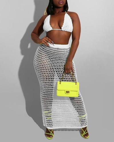 Mesh Bikini Top & Skirt Set
