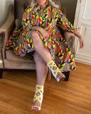 Geometric Print V-neck Fashion Sexy Plus Size Dress