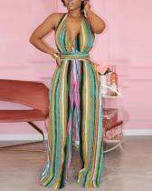 Sexy Striped Halterneck Backless Jumpsuit