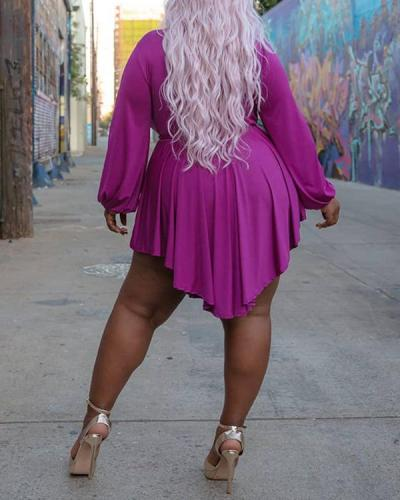 Irregular Sexy V-neck Plus Size Dress