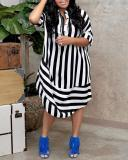 Casual Striped Lapel Short Sleeve Jersey Dress