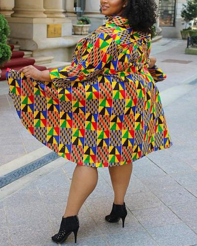 Geometric Print V-neck Fashion Sexy Plus Size Dress