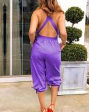 V-Neck Criss-Cross-Back Elastic-Tie-Waist Knee-Length Jumpsuit