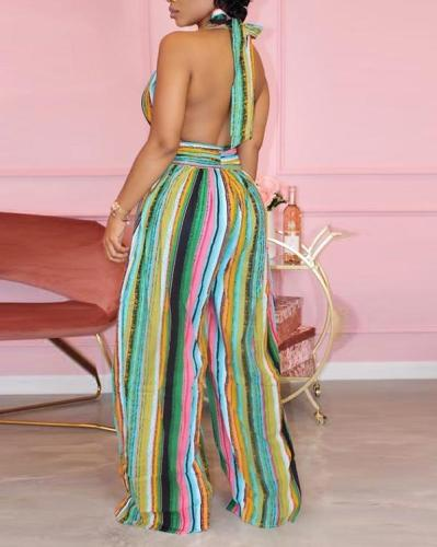 Sexy Striped Halterneck Backless Jumpsuit