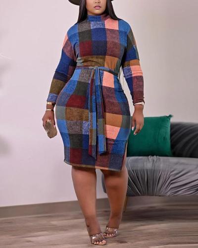 Sexy Fashion Plaid Print Dress