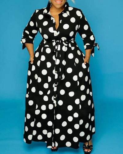 Long Sleeve Polka Dot Print Shirt Dress