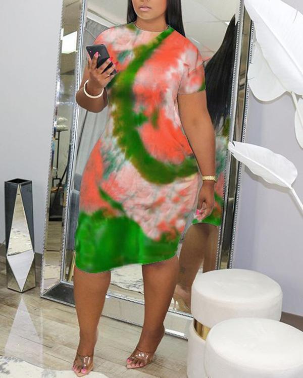 Tie-dye Women's Sexy Round Neck Print Dress