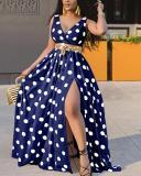 Printed Polka Dot Pattern Long Dress (No Belt)
