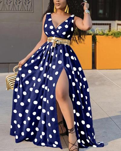 Printed Polka Dot Pattern Long Dress (No Belt)
