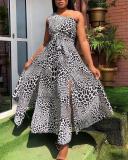 Sexy Print Slit One Shoulder Sleeveless Dress