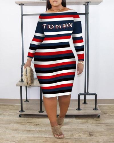 Fashion Casual Stripe Printed Dress
