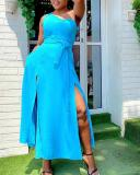 Solid Color One Shoulder Sleeveless Sexy Slit Dress