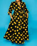 Long Sleeve Polka Dot Print Shirt Dress