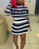 Trendy Letter Print Striped Mini Plus Size Dress