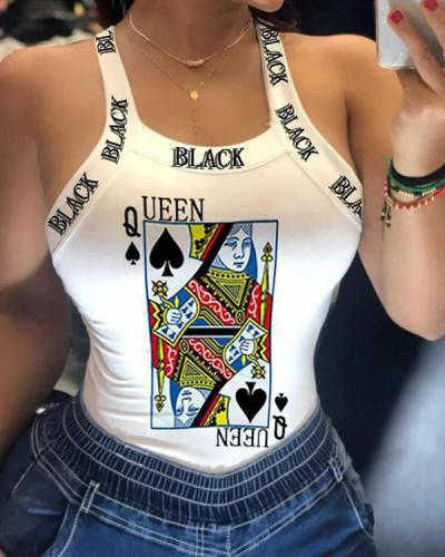 Sexy Sling Print T-shirt Bow-knot Vest Top
