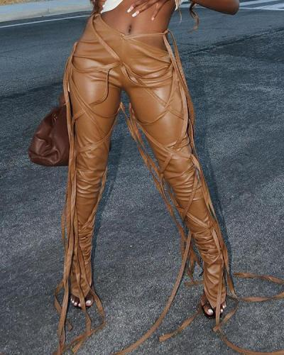 Oblique Waist Multi-strap Casual Lace-up PU Leather Trousers Pants