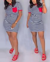Casual Striped Printed Pocket Slim Mini Dress