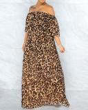 Plus Size One-shoulder Loose Leopard Print Dress
