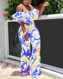 Fashion Printed One-shoulder Jumpsuit
