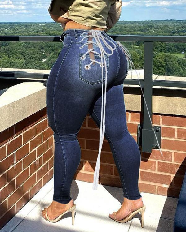 High Waist Eyelet Detail Plus Size Bandage Jeans