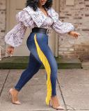 Fringed Denim Pants Slim Jeans
