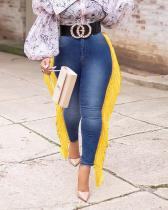 Fringed Denim Pants Slim Jeans