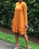 Ruffle Long Sleeve Mini Dress