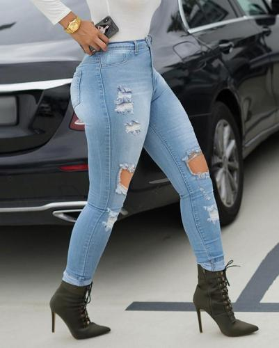 Denim Hole Distressed Skinny Jeans