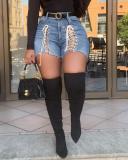 Denim Strapped High Waist Shorts Jeans