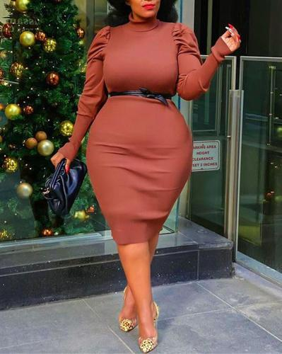 Puff Sleeve Long Sleeve Solid Color Plus Size Dress
