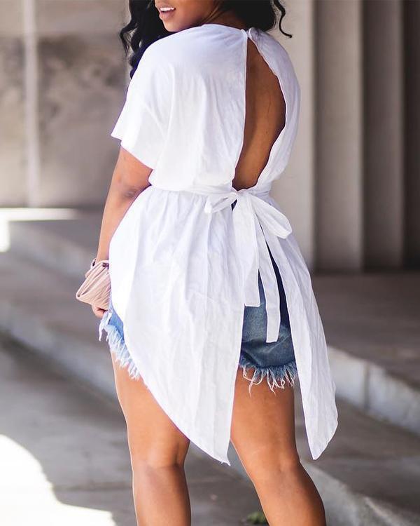 Fashion Irregular Back Strap Hollow Tops