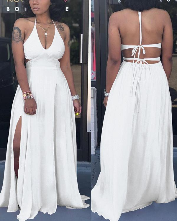 Sexy Solid Color Slim Sling Cut-out Waist Long Dress