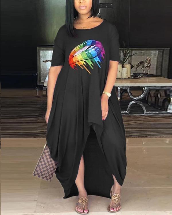 Fashion Printed Loose Irregular Dress