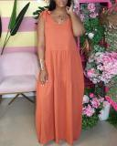Suspenders Solid Color Casual Long Dress